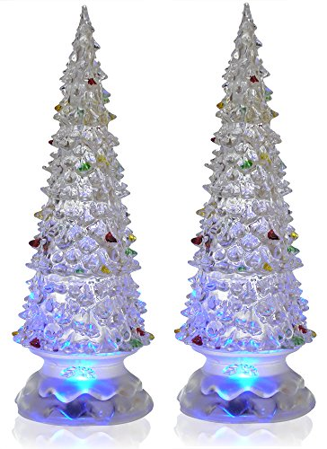 lighted christmas trees set of 2 color changing led acrylic xmas trees each tree has. Black Bedroom Furniture Sets. Home Design Ideas