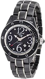 Lucien Piccard Women's 27106BK Celano Automatic Diamond Accented Black Mother-Of-Pearl Dial Black Ceramic Watch