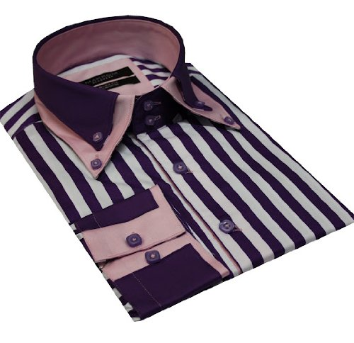 Italian Design Double Collar Button Down Men Formal Casual Shirts Purple Stripe