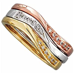 14K Tricolor Diamond Stackable Wave Ring