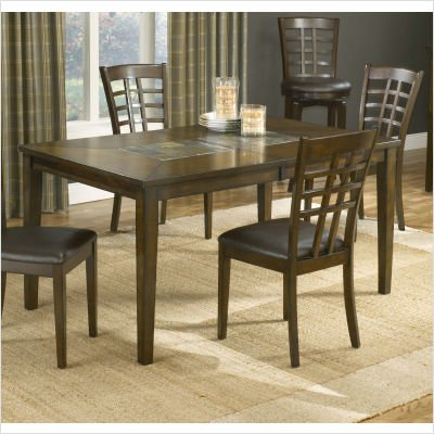 Coronado Extension Wood and Slate Top Dining Table in Brown Cherry