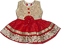 Retaaz Baby-Girls' Frock (Rkgf42, Red and Cream, 3-6 Months)