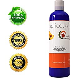 Apricot Kernel Seed Oil for Skin, Hair Growth, & Face - Cold Pressed Carrier Oil for Massages & Aromatherapy - Natural Moisturizer with Anti Aging Properties - 4 Oz - USA Made By Maple Holistics