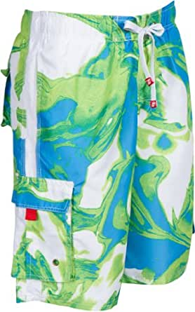 LA018113B - Mens Multi Color Wave Design Skate Surf Board Short / Swim Trunks (Various Colors And Sizes ) - Blue/Small