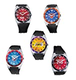 NBA Miami Heat Mens Logo Sports Watch Silvertone w Black Band
