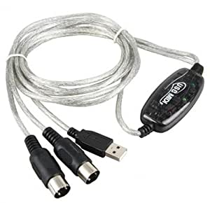 Panbado® - USB Midi Cable Lead Adaptor Keyboard Interface to PC Laptop for For Win 7 XP Vista Mac Plug and Play