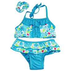 Sweet & Soft Baby-Girls Floral Ruffle Bikini and Hair Tie Swim Suit 24M Blue