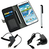 BIRUGEAR Black Leather Wallet Case with Stand and Credit Card Holder + Silver Stylus Pen + UK Micro-USB Travel Charger + Car Charger for Samsung Galaxy Note II 2 N7100