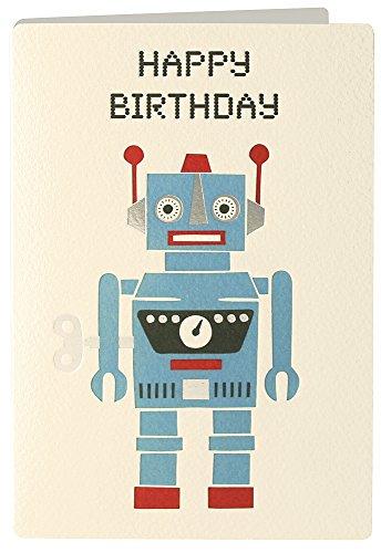 James Ellis Retro Press Robot Birthday Card