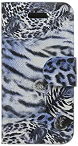 JUJEO Leopard Skin Leather Card Holder Stand Cover for iPhone 5s/5 - Non-Retail Packaging - Blue