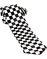Trendy Skinny Tie - Black and White Checkered