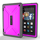 Fire HD 7 Case - Poetic Fire HD 7 Case [Revolution Series] - [Heavy Duty] [Dual Layer] [Screen Shield] Protective Hybrid Case with Built-In Screen Protector for Amazon Fire HD 7(2014) 4th Gen Magenta (3 Year Manufacturer Warranty From Poetic)