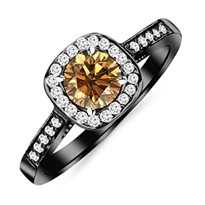 2.23 Carat 14K Black Gold Classic Square Halo Single Row Pave Set Diamond Engaement Ring with a 2 Carat Natural Untreated Brown/Champagne Diamond Center (Heirloom Quality)