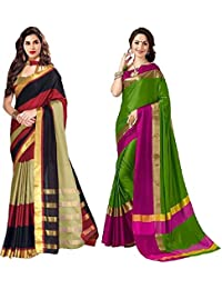 Indian Beauty Striped Chanderi Handloom Silk Cotton Blend Saree (Pack Of 2, Multicolor)