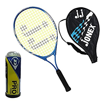 Jonex Tennis Kit Aluminum Tennis Racket with Dunlop Ball 3pcs (Multi-Colour)
