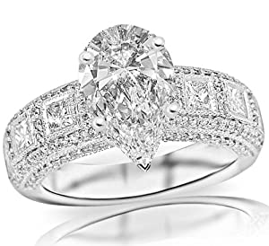 1.75 Carat Pear Cut / Shape 14K White Gold Exquisite Bezel Set Princess Cut And Pave Set Round Diamond Engagement Ring ( G-H Color , SI1 Clarity )