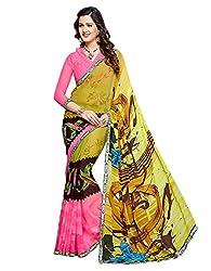 PShopee Pink Weightless Designer Chiffon Saree with Blouse Piece