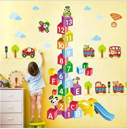 My Box Growth Char Numbers Squre height Chart Wall Vinly Decal Decor Sticker Removable, Removable Wall Decal Super for Nursery Children\'s Bedroom