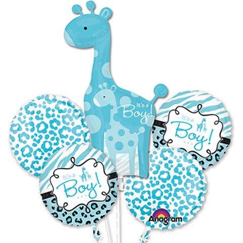 Safari Print Its A Boy Giraffe Balloon Bouquet front-1019081