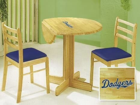 New 3 Piece Natural Finish Drop Leaf Table and Chair Set Featuring Los Angeles Dodgers Theme