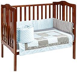 Baby Doll Bedding Croco Minky Mini Crib/ Port-a-Crib Bedding, Blue/Grey