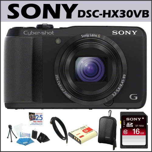 Sony DSC-HX30V/B Cybershot 18.2MP 20X Digital Camera Black, Sony Class 4 16GB SD Card, Targus 3 Foot Mini HDMI Cable, Sony Bag, Accessory Kit