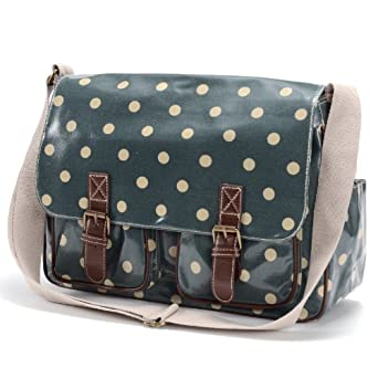 SAGE Green Designer Oilcloth Polka dots gloden spot Cross Body Saddle Bag Satchel Shoulder Messenger FIT FOR A4 File