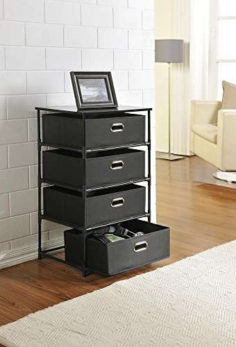 Altra Sidney 4 Drawer End Table, Black (Canvas Storage Drawers compare prices)