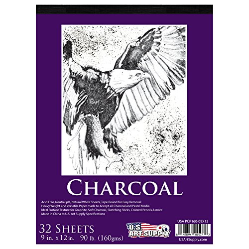 us-art-supply-9-in-x-12-in-premium-heavy-weight-charcoal-paper-pad-160gsm-90-pound-30-sheets
