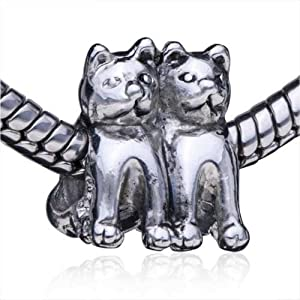 Twin Cat European Bead Fits Pandora Beads & Charms