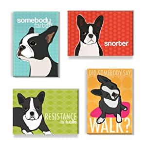 Boston Terrier Gifts Set of 4 Refrigerator Magnets with Funny Sayings, Boston Terrier Art,... by Pop Doggie