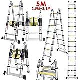 CRAVOG New 5M 2.5   2.5M Multipurpose Aluminum Alloy Telescopic Style Folding Extension Extenable Ladder