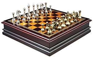 Grace Chess Inlaid Wood Board Game With Metal