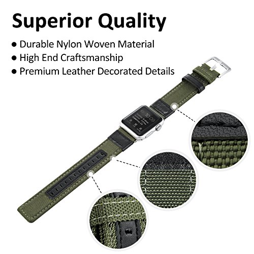 Apple Watch Series 2 Band, Benuo Premium Nylon Woven Smart Watch Replacement, 42mm Wrist Strap with Adjustable Buckle for New Apple iWatch Series 2/ Apple Watch Series 1/Nike+ (Green, 42mm) 2