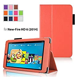 Case for Fire HD 6 - Elsse Premium Folio Case with Stand for Fire HD 6 (Oct, 2014 Release) - Orange