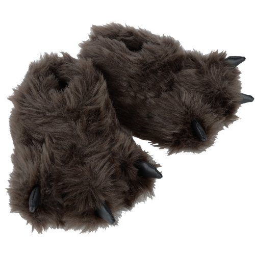 Children's Novelty Padded Faux Fur Bear Feet Slippers With Non-Slip Fabric Sole
