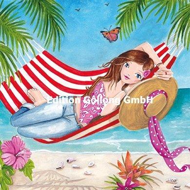 Postkarte Cartita Design * Frau in Hängematte * mit Effektlack / 14x14cm