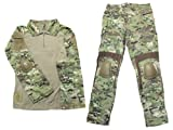 Crye Precisionタイプ コンバットシャツ・パンツセット エルボー・ニーパッド付 マルチカム US-M (身長170-173cm 日本サイズL)