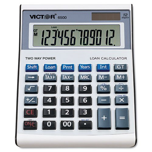 Victor Products - Victor - 6500 Loan Calculator, 12-Digit LCD, Black/Silver - Sold As 1 Each - Premium desktop calculator with loan functions. - Smooth touch keyboard, huge 21 mm 12-digit display and brushed metal faceplate. - Easy-to-use functions that are flawless for simple calculations. - Victor's Loan Wizard included to help you effortlessly answer any loan question. - Input any three loan variables to compute the fourth.