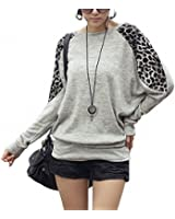 DJT Leopard Longshirt Pullover Batwing chandail top š€ manches longues T Shirt Femme