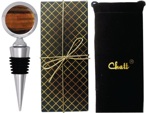Chatt Golden Tiger Eye Gemstone Bottle Stopper in Deluxe Gift Box w/ Storage Pouch
