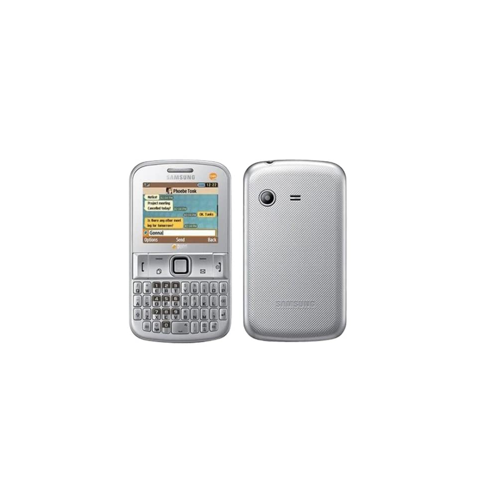 Samsung Ch@t 222 PLUS E2222 Unlocked GSM Phone with Dual SIM, QWERTY Keyboard, Camera, Bluetooth, FM Radio and microSD Slot   Metallic Silver