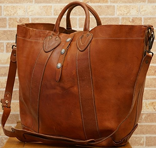 (ダブルアールエル)RRL ディストレスト レザー トート Distressed Leather Tote Brown 並行輸入品