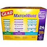 Glad MatchWare Food Storage Containers Variety Pack Including Easy Color Match Lids plus 4 Dressing Cups as a Bonus - 28 total pieces