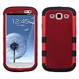 MYBAT SAMSIIIHPCTUFFSO006NP Premium TUFF Case for Samsung Galaxy S3 - 1 Pack - Retail Packaging - Titanium Red/Black