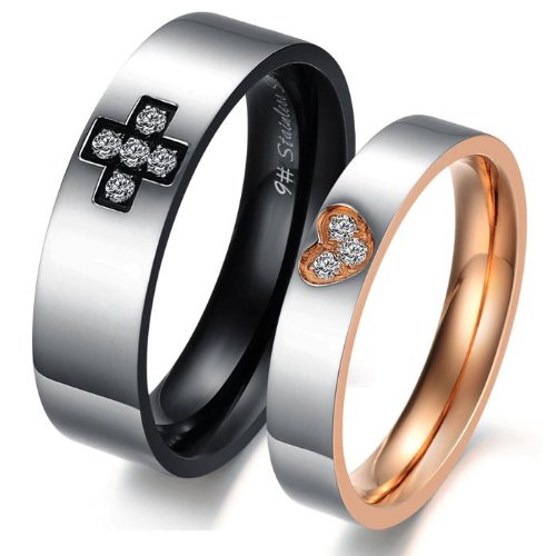 Lover's Titanium Stainless Steel Women Wedding Ring Promise Ring for Women Anniversory Ring Black Steel with Zirconia Cross Inlay, for Men 9