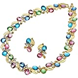 Wedding Oval Stone 18K Gold Plated Mulit Color Necklace Earrings Jewellery Set