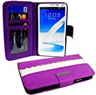 myLife (TM) Violet Purple and Bright White {Classic Scallop Design} Faux Leather (Card, Cash and ID Holder + Magnetic Closing) Slim Wallet for the iPhone 5C Smartphone by Apple (External Textured Synthetic Leather with Magnetic Clip + Internal Secure Snap In Hard Rubberized Bumper Holder)
