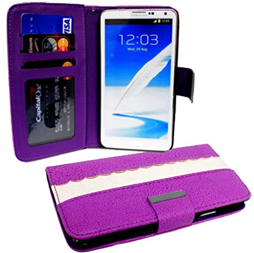 Mylife (Tm) Violet Purple And Bright White {Classic Scallop Design} Faux Leather (Card, Cash And Id Holder + Magnetic Closing) Slim Wallet For The Iphone 5C Smartphone By Apple (External Textured Synthetic Leather With Magnetic Clip + Internal Secure Snap