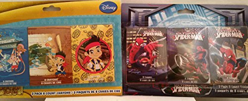 Set of TWO Crayon 3-packs _ Disney Jake and the Never Land Pirates _ Marvel Ultimate Spiderman _ Both Sets Come As 3-8 Count Pack Crayons (2 X 24 Total Crayons) _ Great Creativity Toy for Children